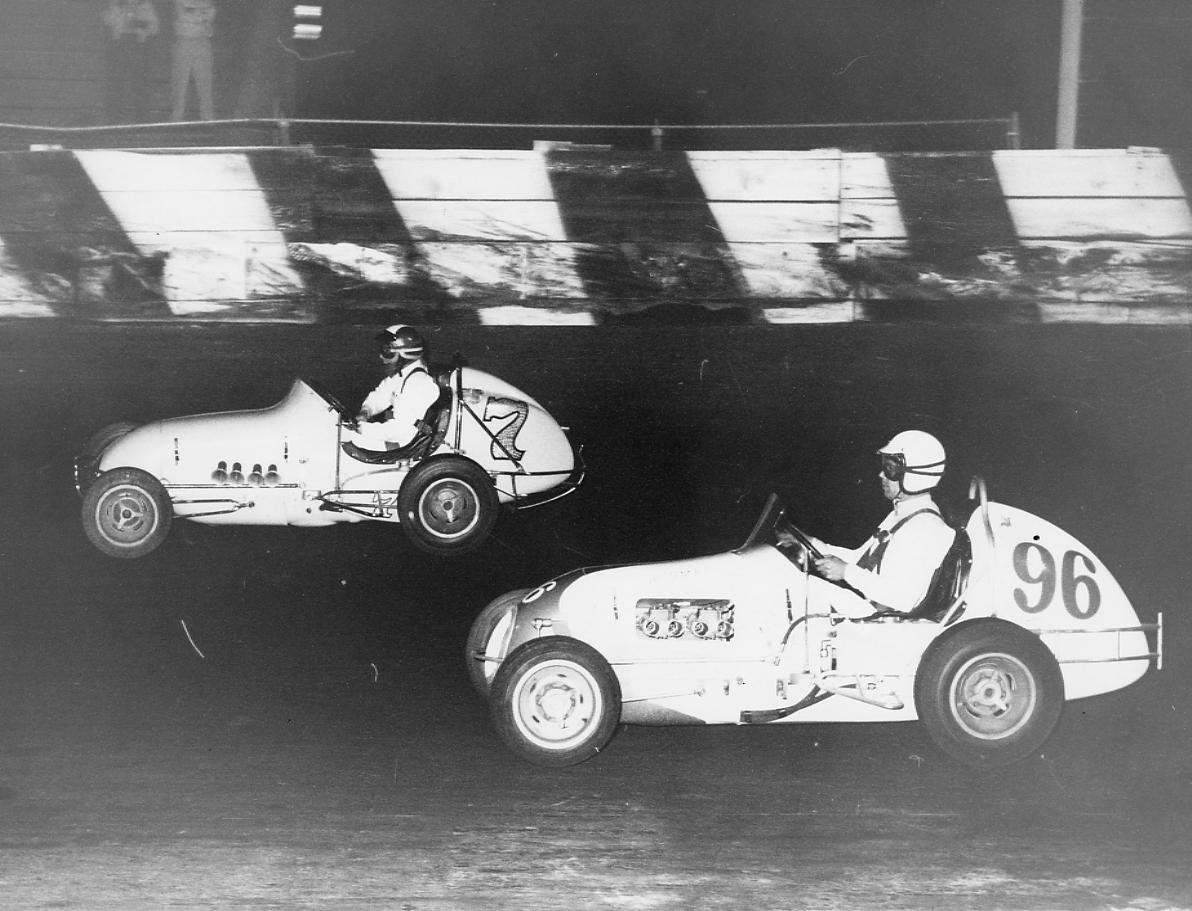 18 1965 #96 G. Benson and #7 A. Heath D. Caruthers Offy at Kearny Bowl Fresno