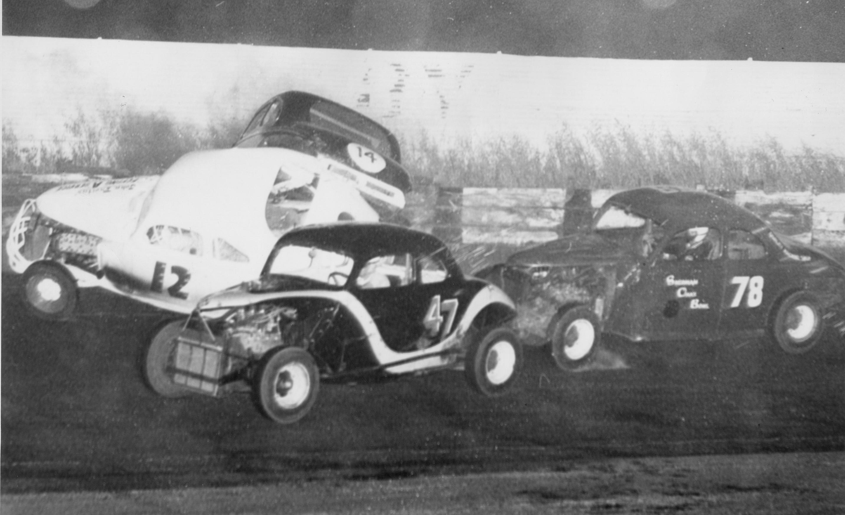 4 1958 #12 J. Freitas, #14 A. Bigiogni, #47 G.Benson, #78 B. Foland, San Jose Speedway Action